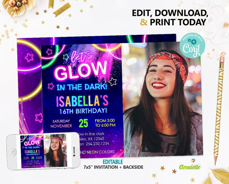 Glow In The Dark Party Invitation With Photo Instant Download Neon Birthday Invitations EDITABLE