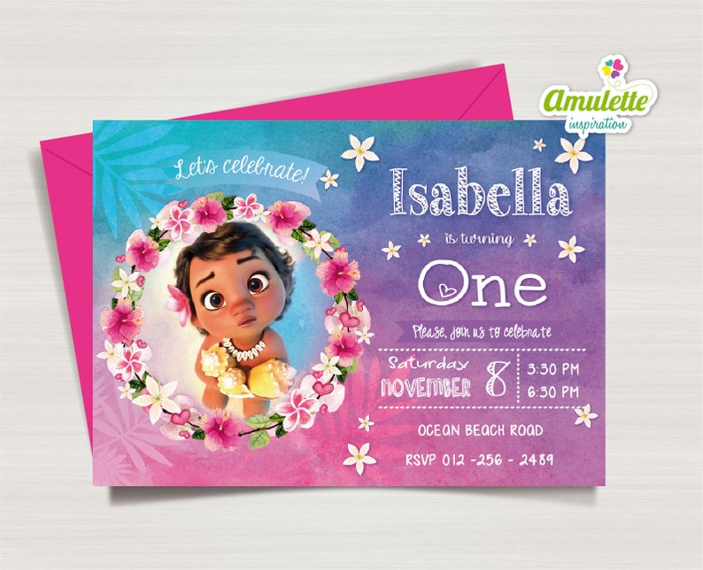 Moana Invitation Baby First Birthday 1st
