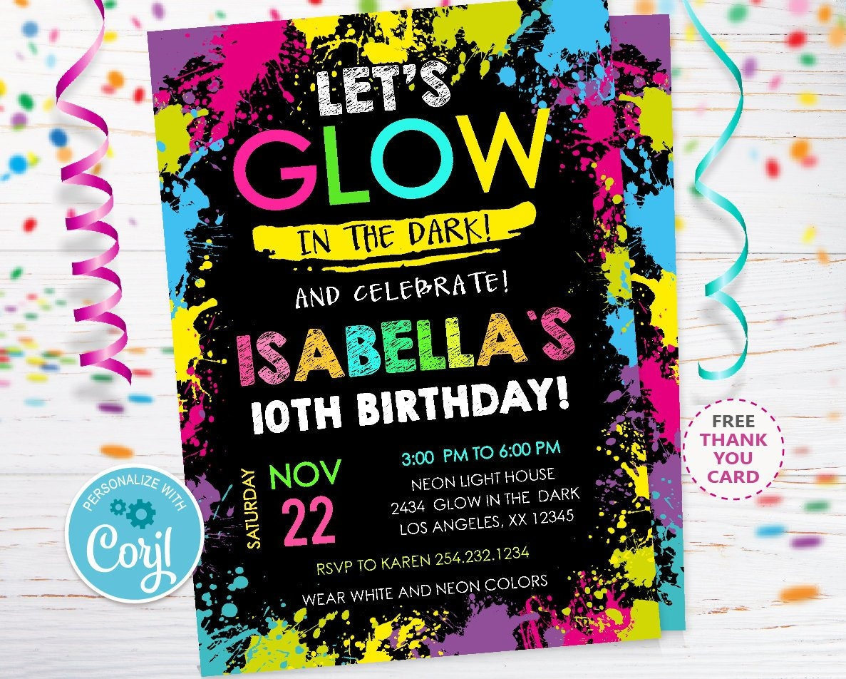 Glow Party Invitation Neon In The Dark Birthday Invitations Template Editable Instant Download