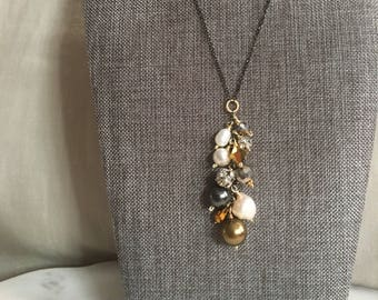 Crystals, Freshwater Pearls, Rhinestone Disco Ball Dribble Necklace on Oxidized Sterling Silver Chain