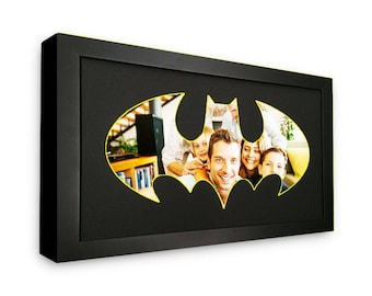 Classic Batman Logo Picture Mat in Frame - Made to Display Your 4x6 Photos