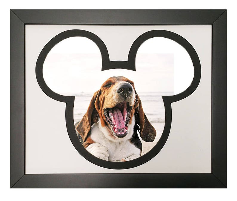 For 4x6 Photos Mickey Mouse Silhouette Picture Frame with Black and White Mat