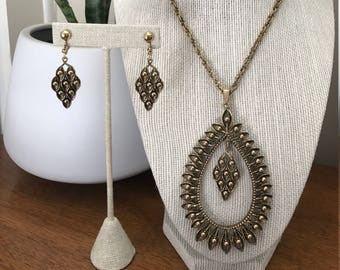 Vintage 1960s Boho Necklace and Earring Set - Gold Tone