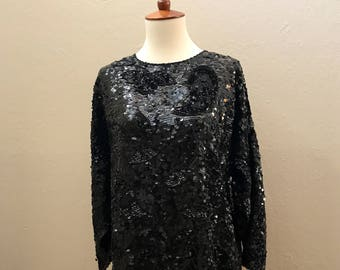 Vintage 1980s Black Sequin Blouse / Top / Large