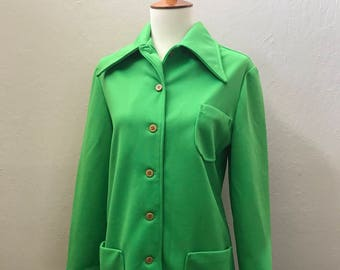 Bright Green 1970s Polyester Jacket with Butterfly Collar / Small