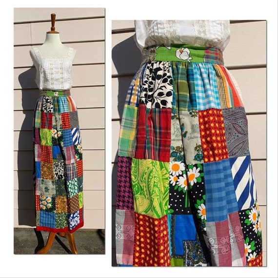 Authentic 1960s 1970s Patchwork Skirt
