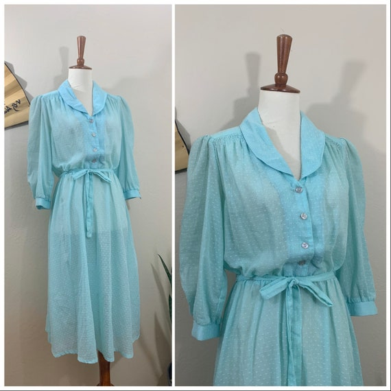 1970s Aqua Swiss Dot Dress / Small / Medium