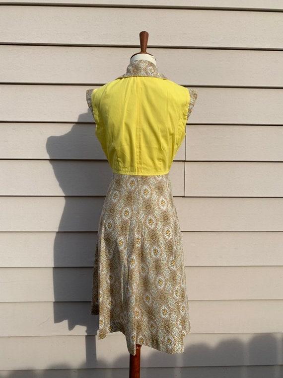 1970s Cotton Empire Waist Shirtdress / Yellow - image 5