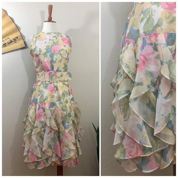 1980s Floral Silk Dress / St Gillian