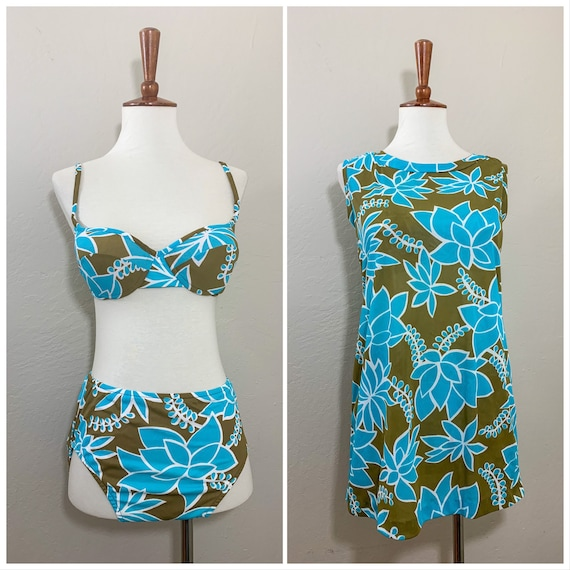 1960s Bikini & Coverup Set / Blue / Green