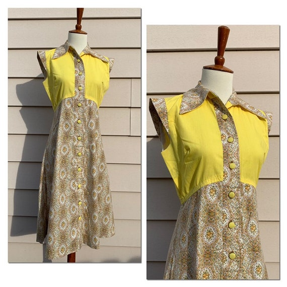 1970s Cotton Empire Waist Shirtdress / Yellow - image 1