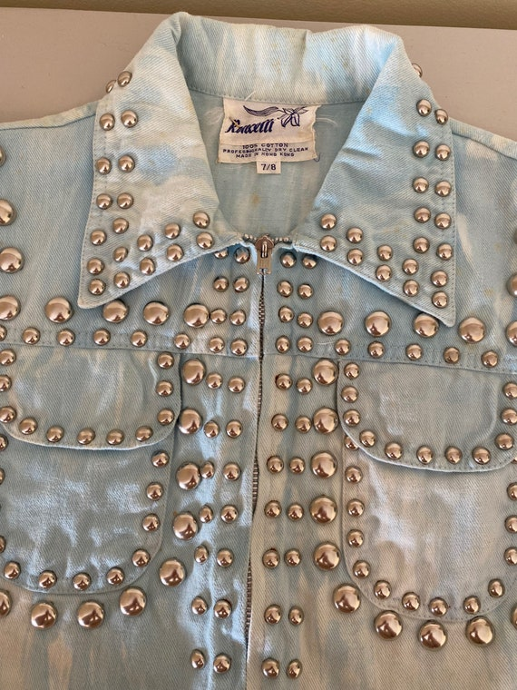 Iconic studded Roncelli jacket in marbled light d… - image 5