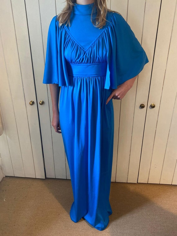 Dreamy 1970s angel sleeve cape maxi dress