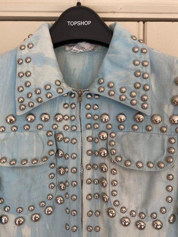 Iconic studded Roncelli jacket in marbled light d… - image 3