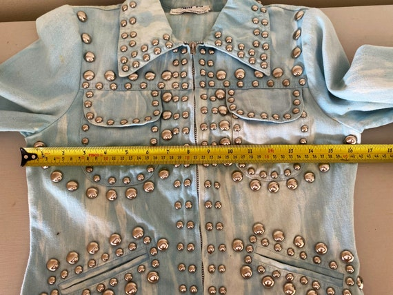 Iconic studded Roncelli jacket in marbled light d… - image 4