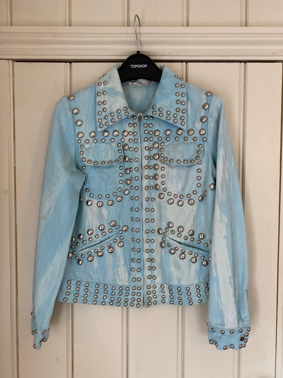 Iconic studded Roncelli jacket in marbled light d… - image 1
