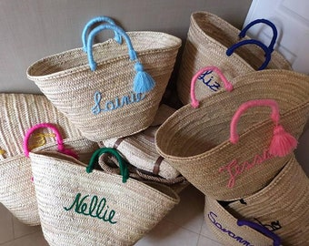 monogrammed baskets, Straw Bag with Natural Leather Handle, Personalized Wedding gift, customized bridal bags embroidered bags with pompom