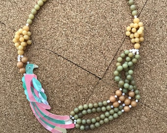 """Vintage Mother of Pearl Statement Lee Sands 28"""" Parrot Bird Beaded Necklace- Statement Unsigned"""