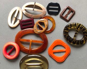 Lot of 15 Vintage Brown /& White Buckles Slides Unused USA Seller Sewing Crafts