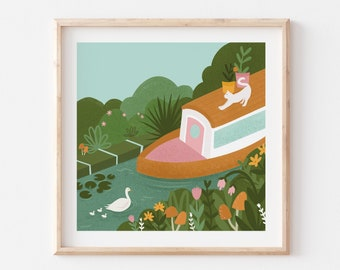 House Boat Illustration / Canal Cat Nature Art Print / Floral Wall Decor