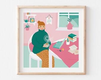 Tea Break Illustration / Working From Home Art Print / Lady Wall Decor