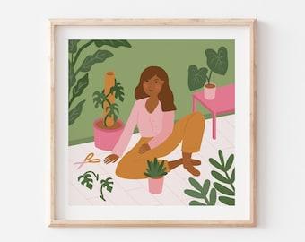 Plant Lady Illustration / House Plant Lover Art Print / Botanical Wall Art Decor