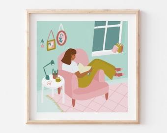Bookworm / Book Lover Art Print / Wall Art Decor
