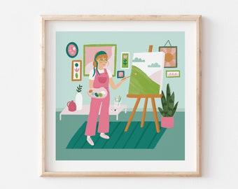 Painting Lady Illustration / Artist Art Print / Fine Art Wall Decor