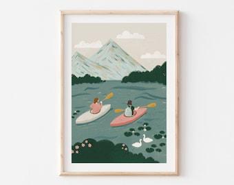 A4 – Kayaking Print / Mountain Outdoors Art Print / Nature Illustration / Dorm Wall Decor / Gift