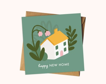 Happy New Home Card / Floral New House Greeting Card