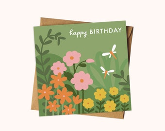 Wildflower Dragonfly Birthday Card / Nature Inspired Illustrated Greeting Card