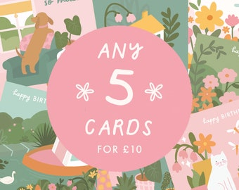 5 Card Bundle   Choose Your Own Cards   Any 5 Illustrated Greeting Cards   Colourful Gifts for Friends