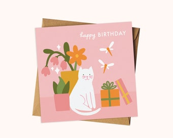 Happy Birthday Cat and Flowers Card / Floral Greeting Card