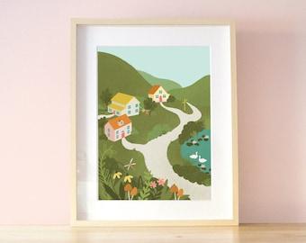 Village in the Hills Art Print / Nature Inspired Digital Illustration / Cottagecore Wall Art Decor A3
