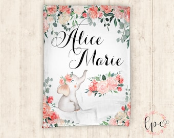 34204c5516bd45 Personalized Baby Blanket - Elephant Floral Baby Blanket - Custom Baby  Blanket - Floral Elephant - Baby Blanket - Baby Shower Gift