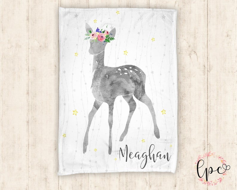 Baby Blanket Personalized Deer Blanket Personalized Blanket Personalized Baby Blanket Floral Deer Blanket Rustic Baby Blanket