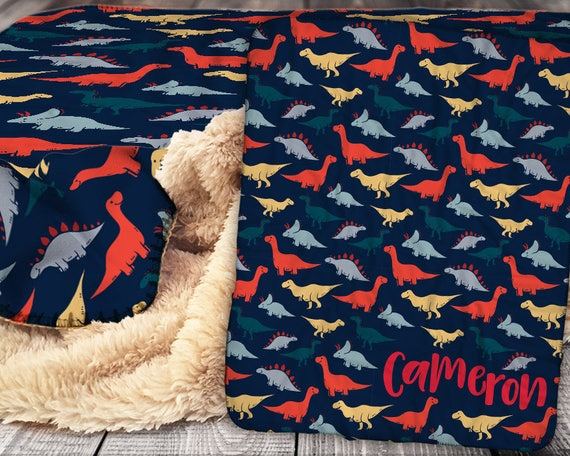 Personalized Dinosaur Blanket Sherpa Throw Blanket Etsy Cool Dinosaur Throw Blanket