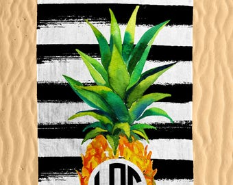 Personalized Pineapple Beach Towel - Watercolor Colorful Pineapple Print Monogram 30x60 Beach Towel