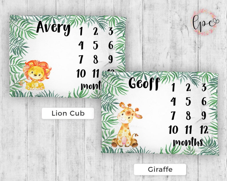 Monthly Milestone Blanket Personalized Baby Blanket Baby Blanket Safari Milestone Blanket Elephant Baby Blanket Baby Shower Gift