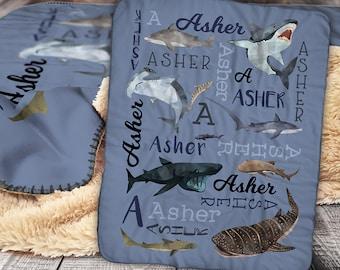 Personalized Shark Blanket - Shark Sherpa Blanket -  Great white - whale shark - Tiger shark - Pattern Blanket - Personalized Name Blanket