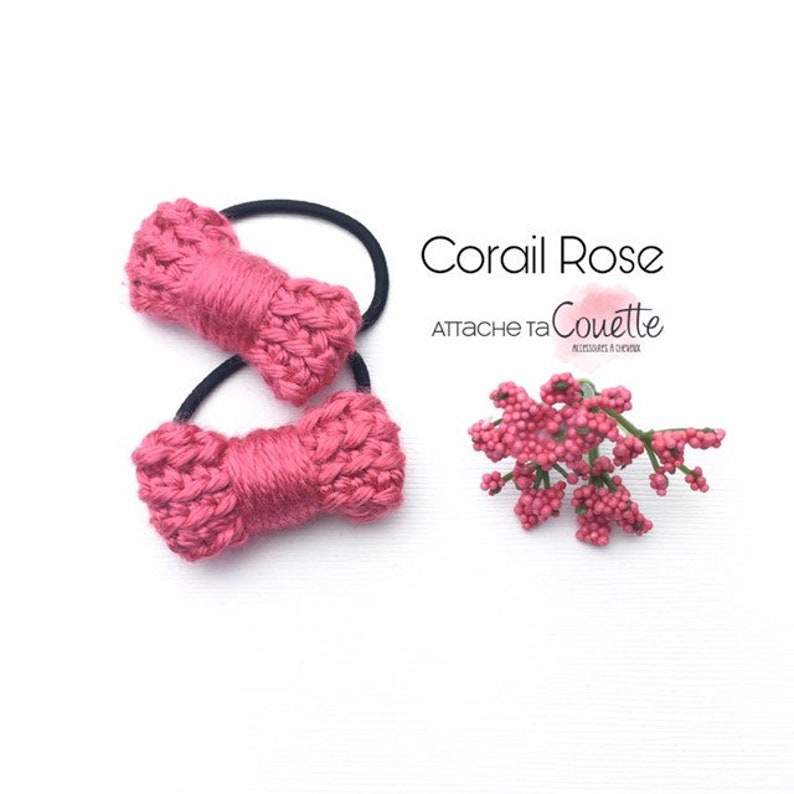 Duo of Mini curls Crochetees mix wool /& silk on small elastic Accessory for baby to adult Choose your color
