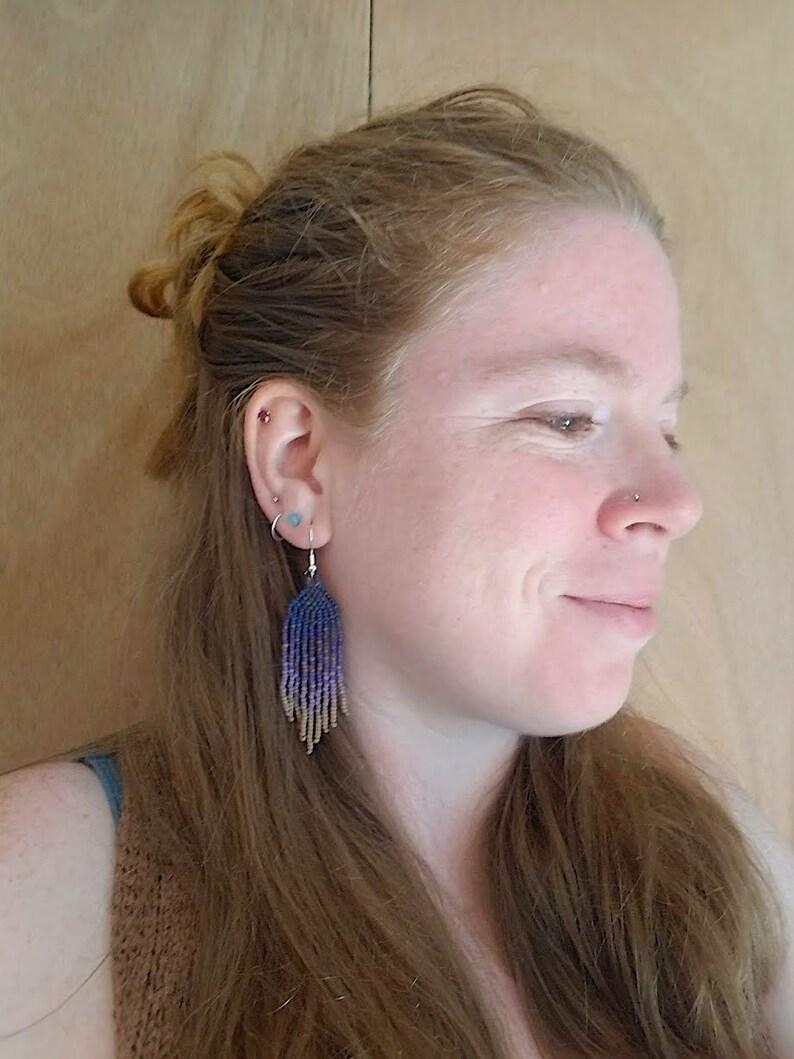 Plum Dusters Nature Inspired Purple Earrings Beadwork Fade Beaded Fringe