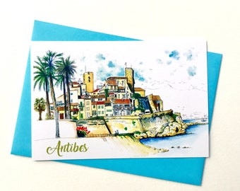 Illustrated Postcard of Antibes old town, ink and watercolor drawing, printed post card