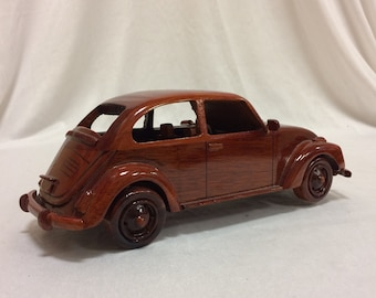 VW Bug Automobile Wooden Model - Made of Mahogany Wood