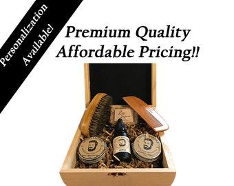 Personalized Gift,  Beard Grooming Kit   Contains Beard Balm, Beard Oil, Beard Wax, Natural Soap, Beard Comb, Beard Brush   By Lusso Sapone