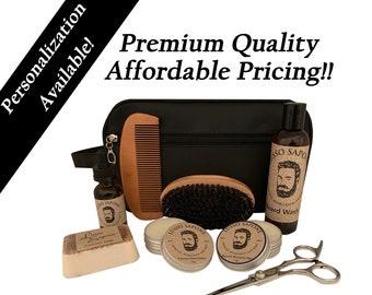 Personalized Gift, Men's Grooming Kit Beard Oil, Beard Wash, Beard Balm, Beard Wax, Natural Soap, Beard Comb, Beard Brush, and Scissors