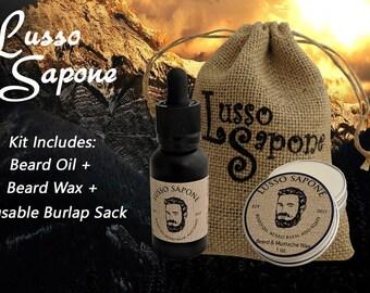 Beard Oil & Beard / Mustache Wax Set (scent options)