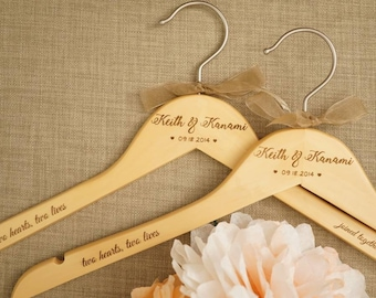 Two Personalized custom wedding hanger. Two Hearts Two Lives. Bride and Groom Hanger. Wedding Dress Hanger. Bride and Bridesmaids Hanger.