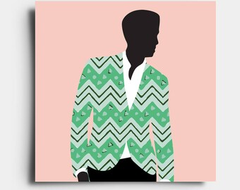 African Print Gent - Greetings Card - Pink