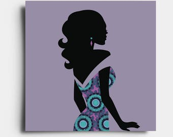 African Print Lady - Greetings Card - Purple
